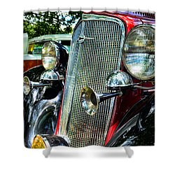 1934 Chevrolet Head Lights Shower Curtain by Paul Ward