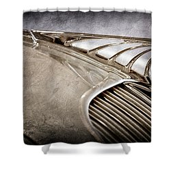 Shower Curtain featuring the photograph 1934 Desoto Airflow Coupe Hood Ornament -2404ac by Jill Reger