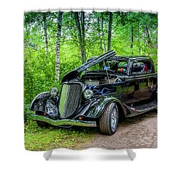 1934 Ford 3 Window Coupe Shower Curtain by Ken Morris