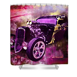 1934 Ford Coupe Hot Rod Acrylic Illustration Shower Curtain