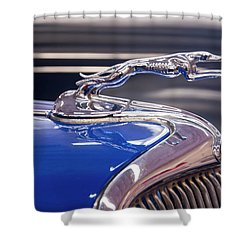 Shower Curtain featuring the digital art 1934  Ford Greyhound Hood Ornament by Chris Flees