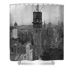 Shower Curtain featuring the photograph 1935 Back Bay Construction, Boston by Historic Image