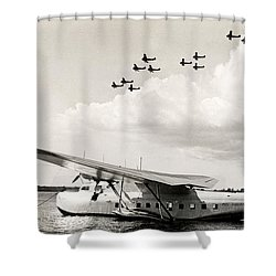 1935 China Clipper In Hawaii Shower Curtain by Historic Image