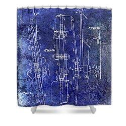 1935 Helicopter Patent Blue Shower Curtain by Jon Neidert