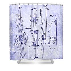 1935 Helicopter Patent Blueprint Shower Curtain by Jon Neidert