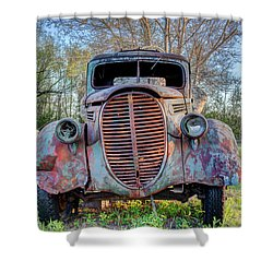 1936 Model 511 1/2 Ton Stakebed Farm Truck Near Charlevoix, Mic Shower Curtain