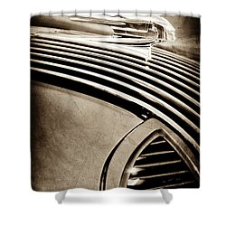 Shower Curtain featuring the photograph 1936 Pontiac Hood Ornament -1140s by Jill Reger
