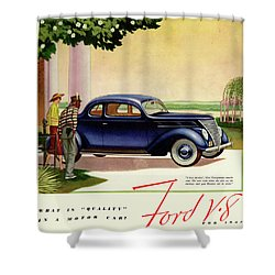 1937 Ford Car Ad Shower Curtain