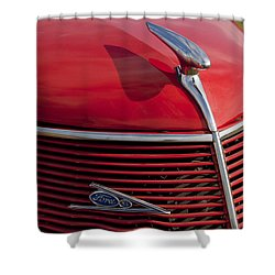 1937 Ford Hood Ornament Shower Curtain by Jill Reger