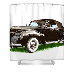 1937 Lincoln Zephyer Shower Curtain by Jack Pumphrey