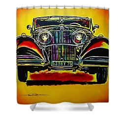 1937 Mercedes Benz First Wheel Down Shower Curtain by Eric Dee