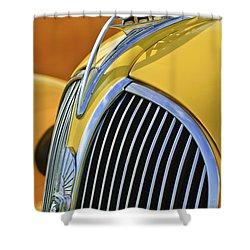 1937 Plymouth Hood Ornament 2 Shower Curtain by Jill Reger
