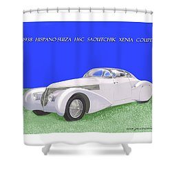 1938 Hispano Suiza H6c Saoutchik Xenia Coupe Shower Curtain by Jack Pumphrey