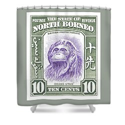 1939 North Borneo Orangutan Stamp Shower Curtain