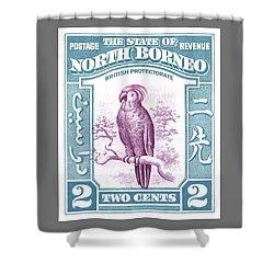 1939 North Borneo Palm Cockatoo Postage Stamp Shower Curtain