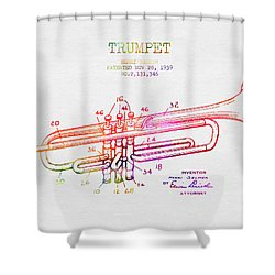1939 Trumpet Patent - Color Shower Curtain by Aged Pixel