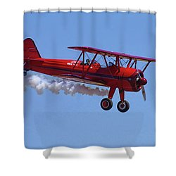 1940 Boeing Stearman Biplane Flyby Shower Curtain