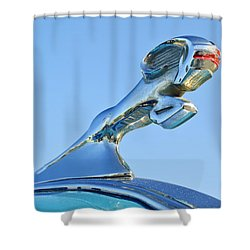 1940 Dodge Business Coupe Hood Ornament Shower Curtain by Jill Reger
