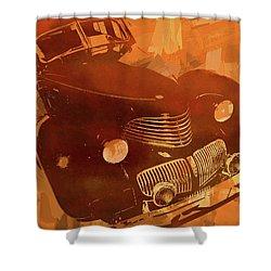 1940 Hupp Skylark Orange Pop Shower Curtain