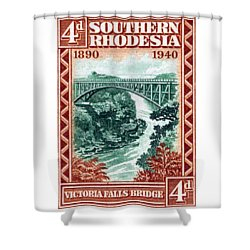 Shower Curtain featuring the painting 1940 Southern Rhodesia Victoria Falls Bridge  by Historic Image