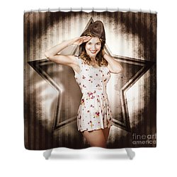 Shower Curtain featuring the photograph 1940s Aviation Pinup Girl Wearing Military Fashion by Jorgo Photography - Wall Art Gallery
