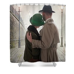 1940s Couple At Dusk  Shower Curtain