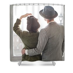 1940s Couple At The Window Shower Curtain by Lee Avison