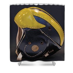 Shower Curtain featuring the photograph 1940s Leather Wolverine Helmet by Michigan Helmet