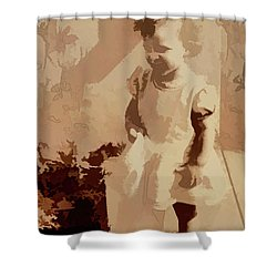 Shower Curtain featuring the photograph 1940s Little Girl by Linda Phelps