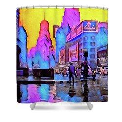 1940s Times Square Rain Shower Curtain by Susan Maxwell Schmidt