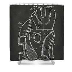 1941 Baseball Glove Patent - Gray Shower Curtain