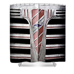 Shower Curtain featuring the photograph 1941 Chevrolet Grille Emblem -0288ac by Jill Reger