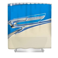 Shower Curtain featuring the photograph 1941 Chevy Hood Ornament by Aloha Art