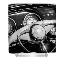 Shower Curtain featuring the photograph 1941 Lincoln Continental Cabriolet V12 Steering Wheel -226bw by Jill Reger