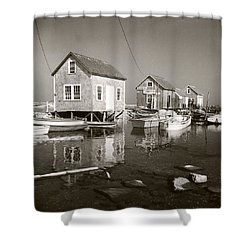 Shower Curtain featuring the photograph 1941 Lobster Shacks, Martha's Vineyard by Historic Image
