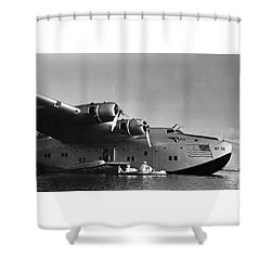 1942 China Clipper Vists Hawaii Shower Curtain by Historic Image