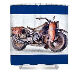 1942 Harley Davidson, Military, 750cc Shower Curtain