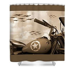 Shower Curtain featuring the photograph 1942 Indian 841 - B-17 Flying Fortress - H by Mike McGlothlen