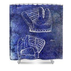 1945 Baseball Glove Patent Blue Shower Curtain by Jon Neidert