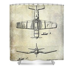 1946 Airplane Patent Shower Curtain