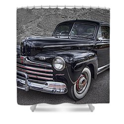 1946 Ford Shower Curtain by Debra and Dave Vanderlaan