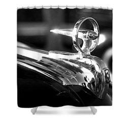 1946 Ford V8 Hood Ornament Shower Curtain by Beverly Stapleton