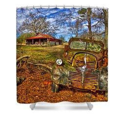 1947 Dodge Dump Truck Country Scene Art Shower Curtain by Reid Callaway