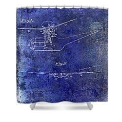 1947 Helicopter Patent Blue Shower Curtain by Jon Neidert