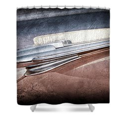 Shower Curtain featuring the photograph 1948 Chevrolet Hood Ornament -0587ac by Jill Reger