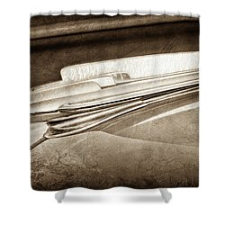 Shower Curtain featuring the photograph 1948 Chevrolet Hood Ornament -0587s by Jill Reger