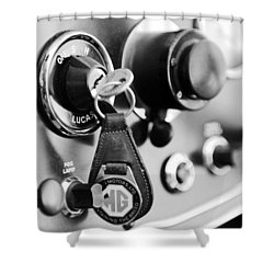 1948 Mg Tc Key Ring Black And White Shower Curtain by Jill Reger