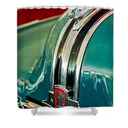 1948 Pontiac Streamliner Woody Wagon Hood Ornament Shower Curtain by Jill Reger