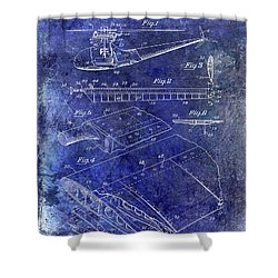 1949 Helicopter Patent Blue Shower Curtain by Jon Neidert