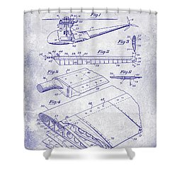 1949 Helicopter Patent Blueprint Shower Curtain